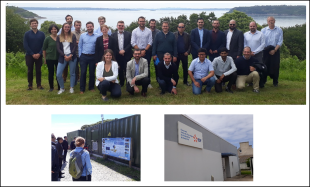 Ushant visit photo montage, top group photo, bottom left and right photos of Sabella power management building